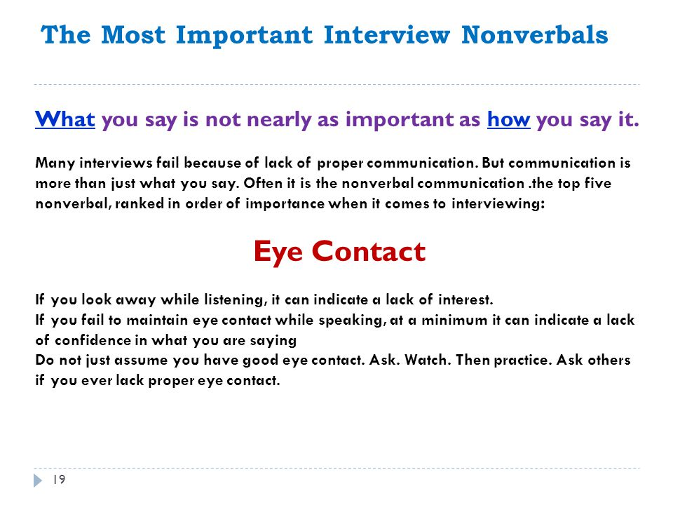 Eye Contact The Most Important Interview Nonverbals
