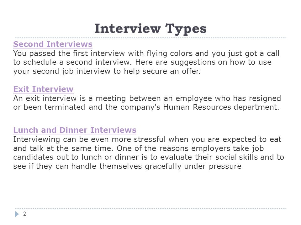 Interview Types Second Interviews