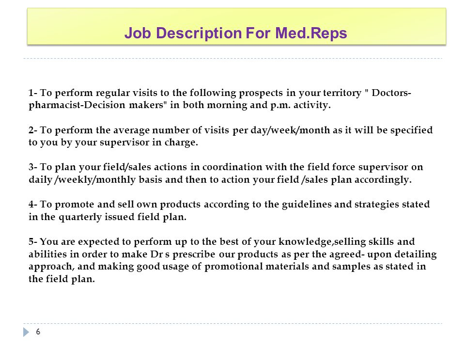 Job Description For Med.Reps