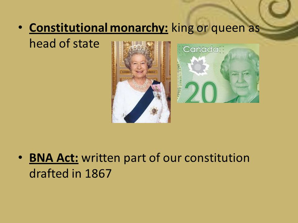 Constitutional monarchy: king or queen as head of state