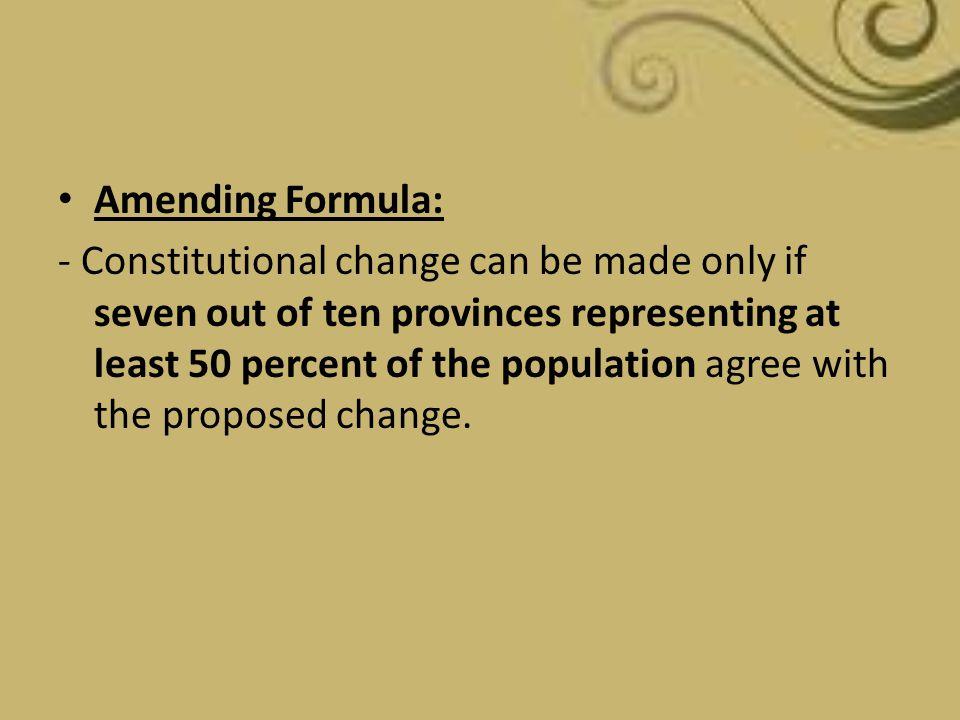 Amending Formula: