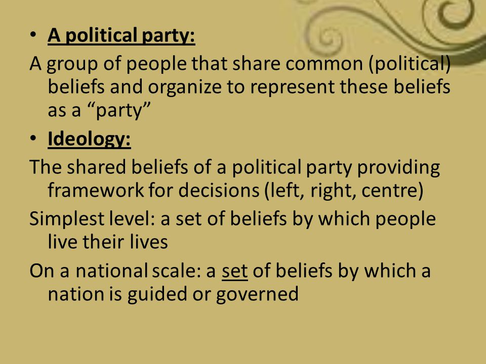 A political party: A group of people that share common (political) beliefs and organize to represent these beliefs as a party