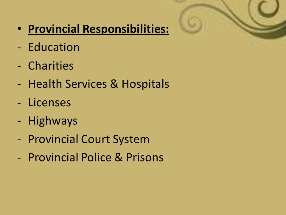 Provincial Responsibilities: