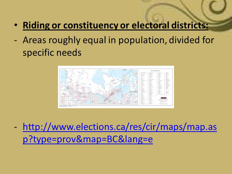 Riding or constituency or electoral districts: