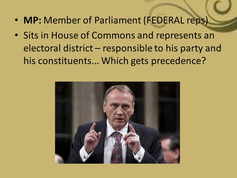 MP: Member of Parliament (FEDERAL reps)