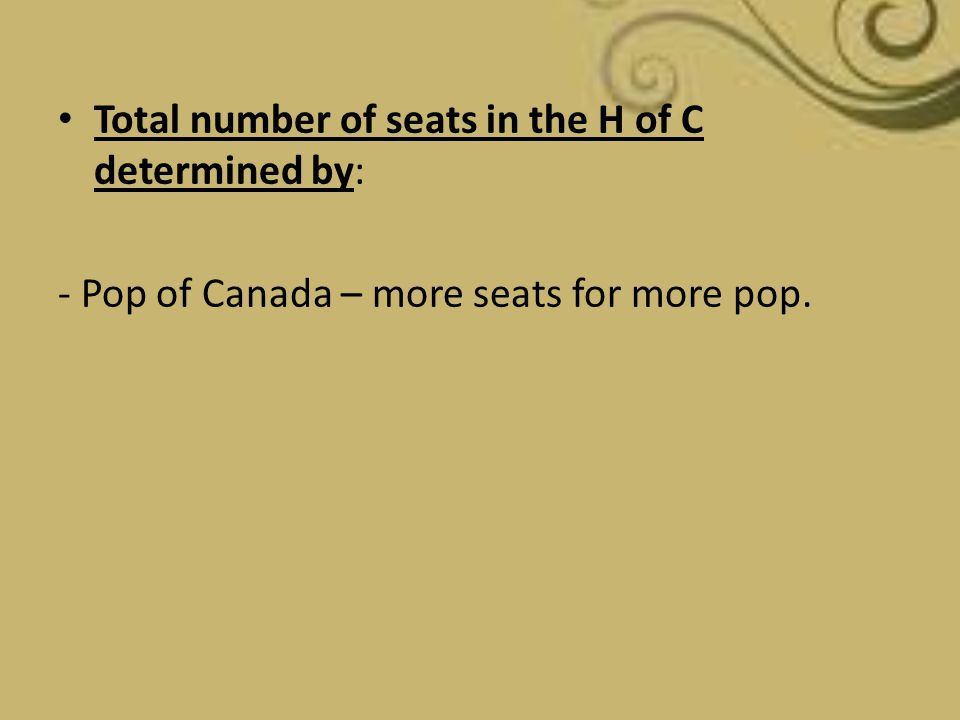 Total number of seats in the H of C determined by: