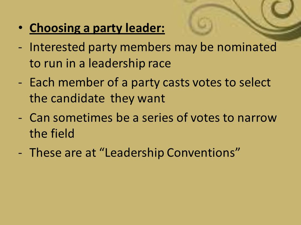 Choosing a party leader:
