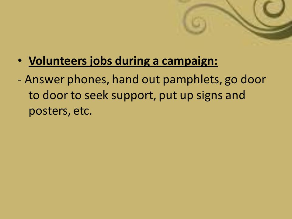 Volunteers jobs during a campaign: