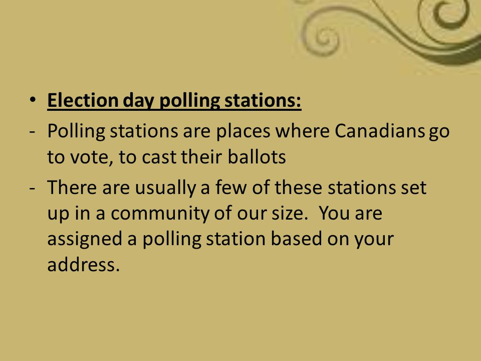 Election day polling stations: