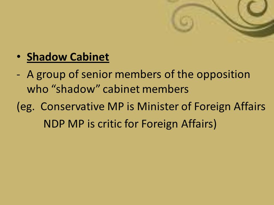 Shadow Cabinet A group of senior members of the opposition who shadow cabinet members. (eg. Conservative MP is Minister of Foreign Affairs.