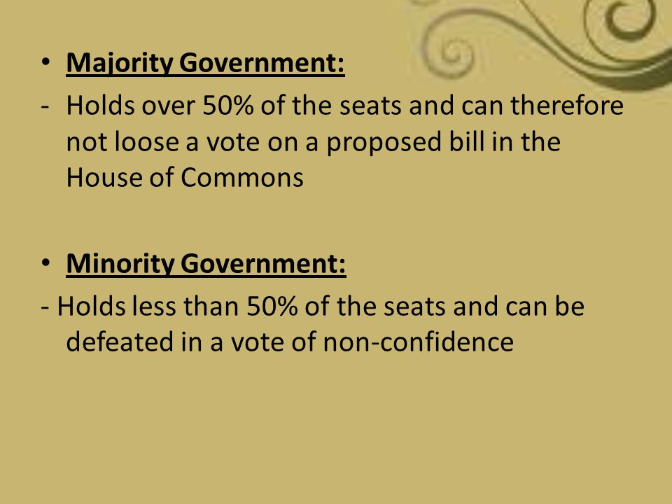 Majority Government: Holds over 50% of the seats and can therefore not loose a vote on a proposed bill in the House of Commons.