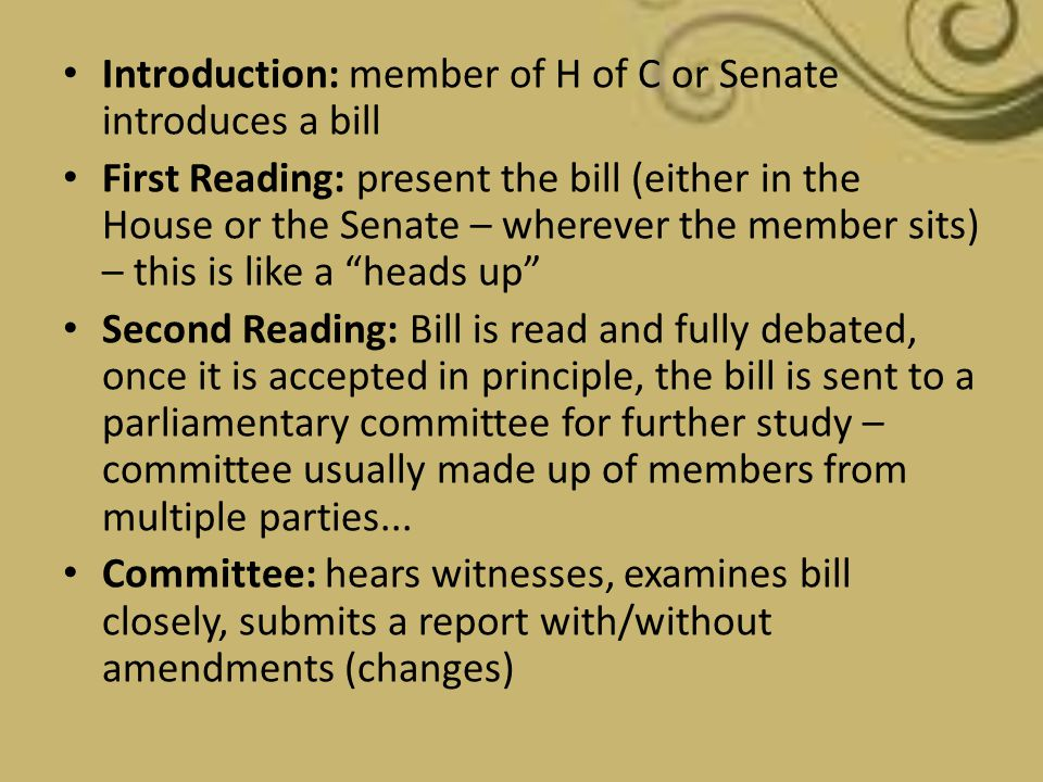 Introduction: member of H of C or Senate introduces a bill