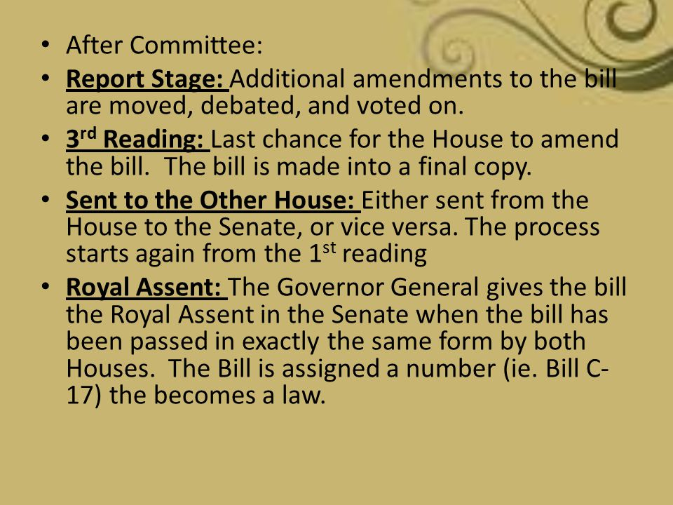 After Committee: Report Stage: Additional amendments to the bill are moved, debated, and voted on.