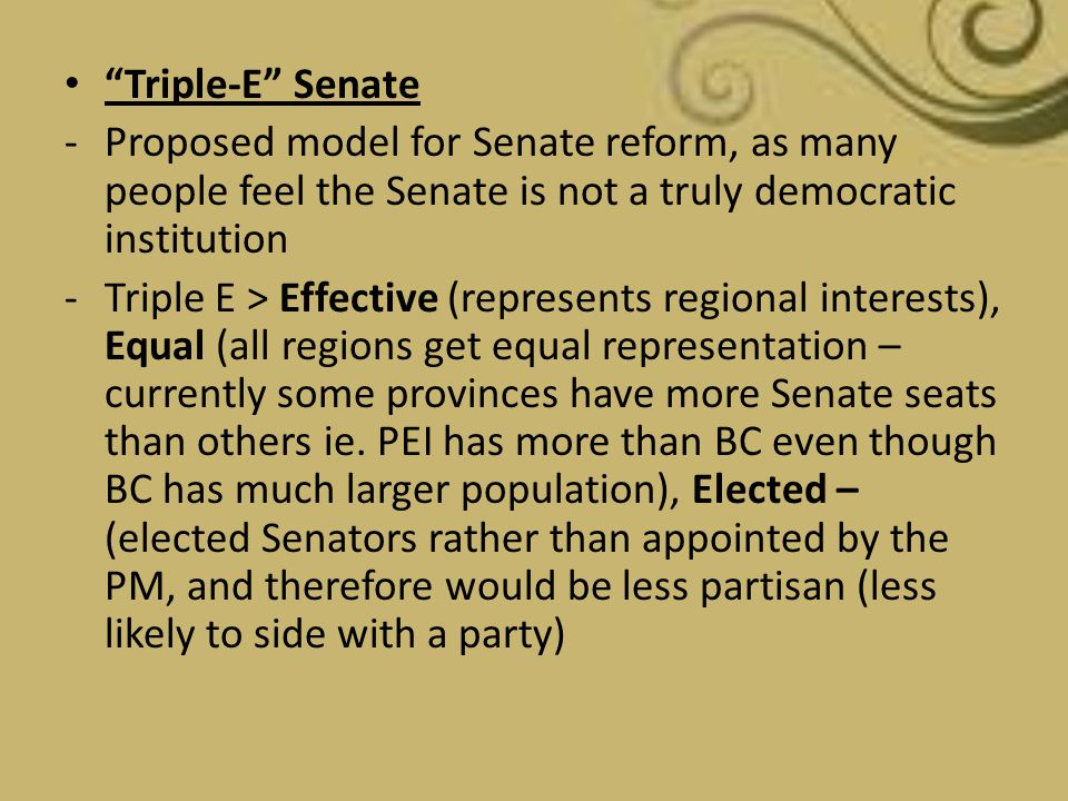 Triple-E Senate Proposed model for Senate reform, as many people feel the Senate is not a truly democratic institution.