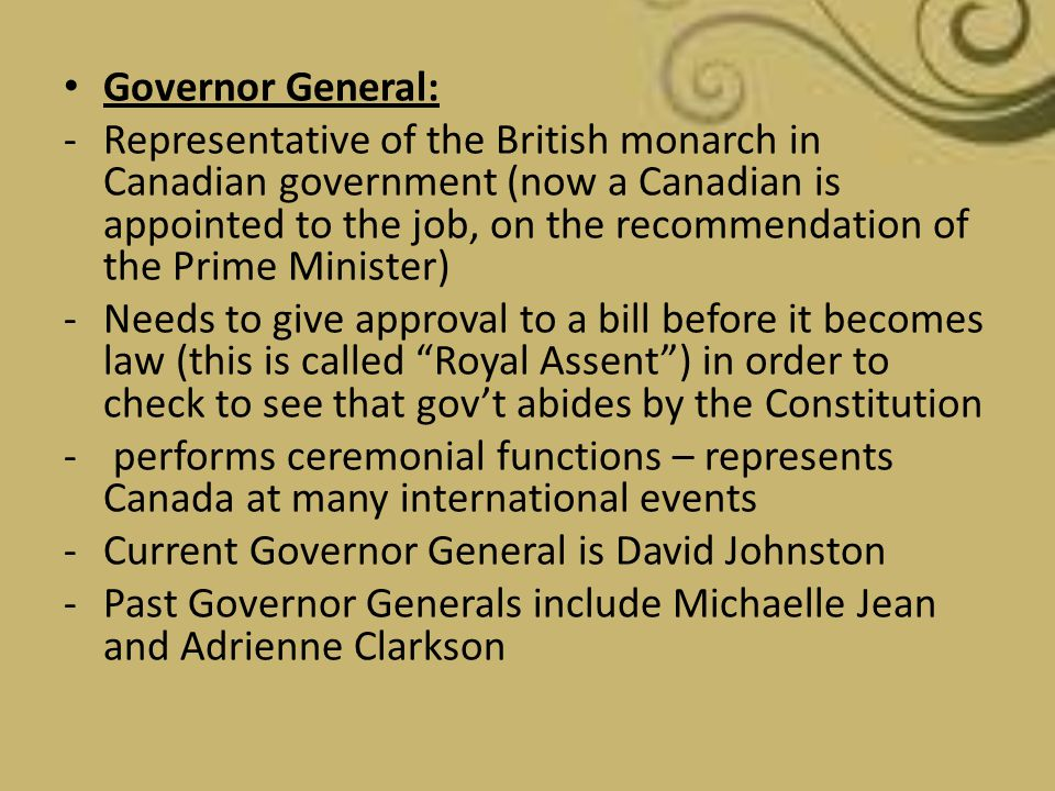 Governor General: