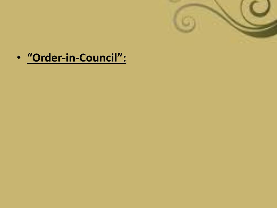Order-in-Council :