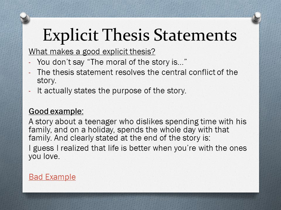 Explicit Thesis Statements