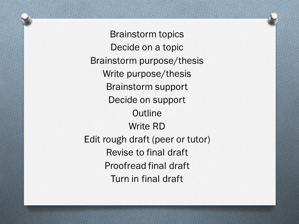 Brainstorm topics Decide on a topic Brainstorm purpose/thesis Write purpose/thesis Brainstorm support Decide on support Outline Write RD Edit rough draft (peer or tutor) Revise to final draft Proofread final draft Turn in final draft