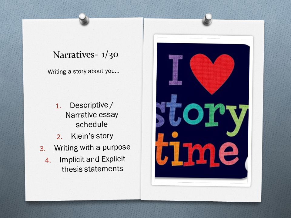 Narratives- 1/30 Descriptive / Narrative essay schedule Klein's story