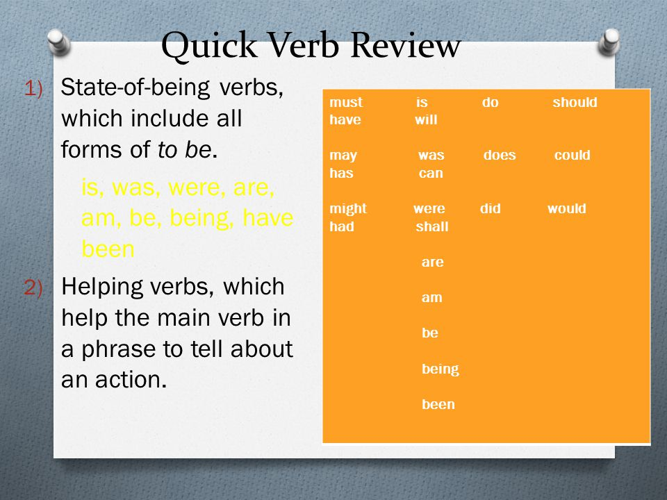 Quick Verb Review State-of-being verbs, which include all forms of to be. is, was, were, are, am, be, being, have been.