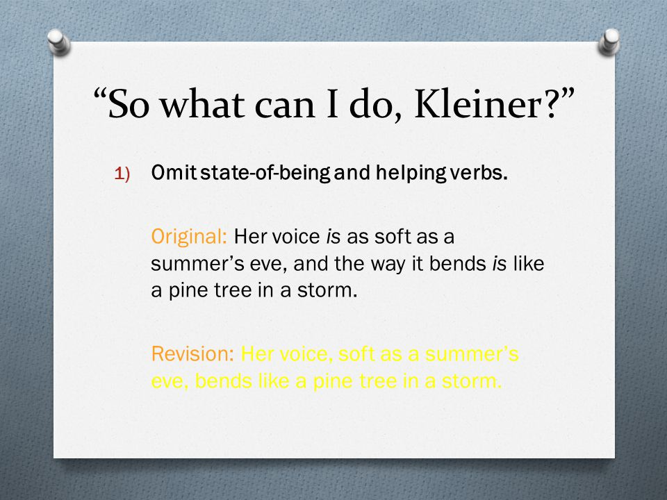 So what can I do, Kleiner