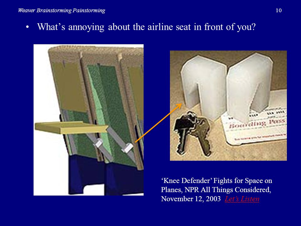 • What's annoying about the airline seat in front of you