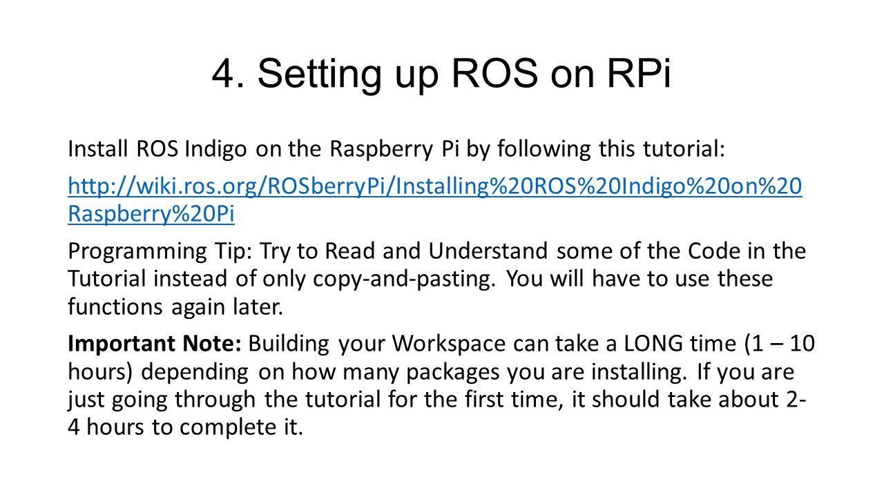 4. Setting up ROS on RPi
