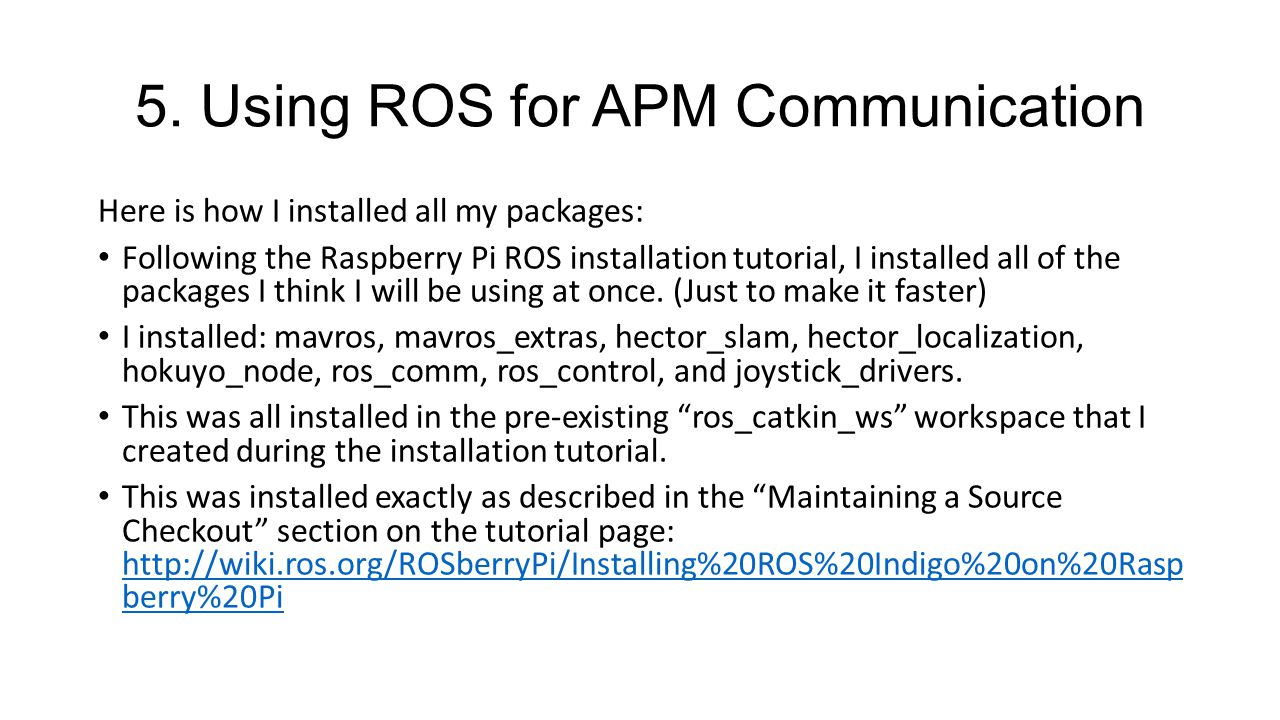 5. Using ROS for APM Communication