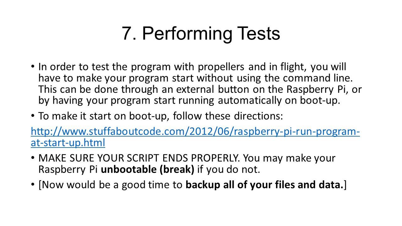 7. Performing Tests