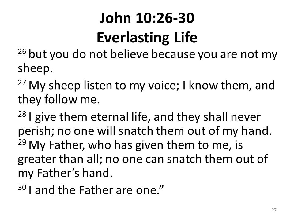 John 10:26-30 Everlasting Life