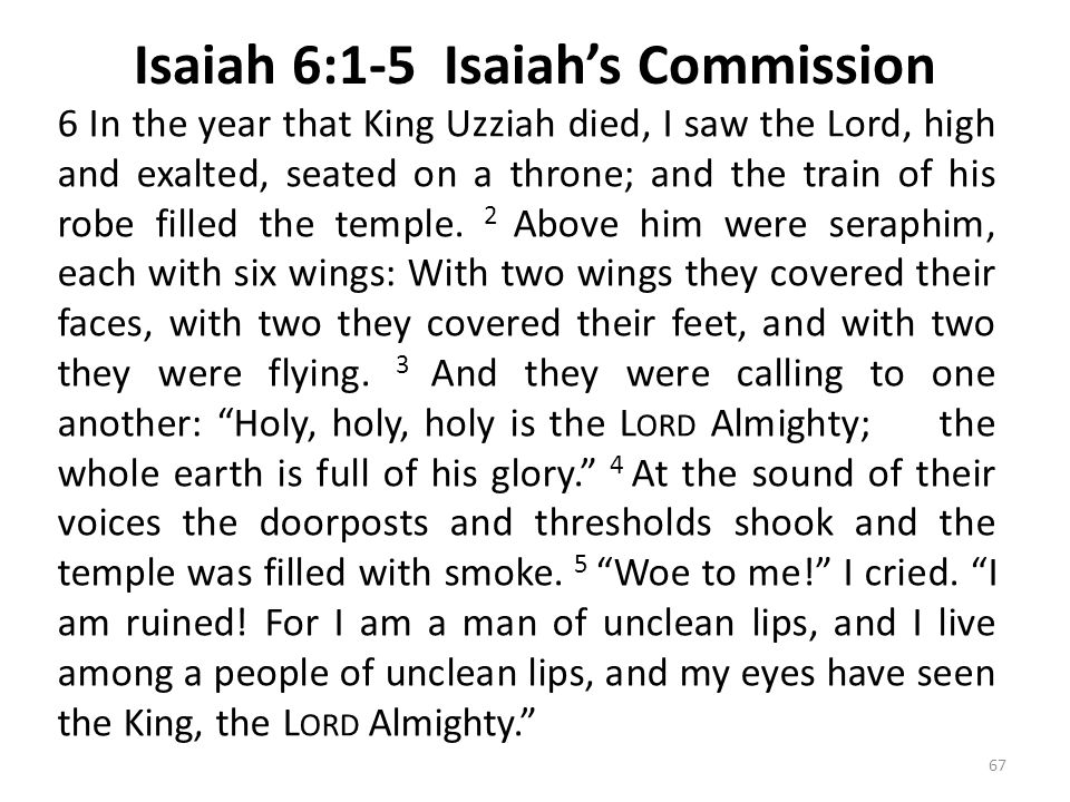 Isaiah 6:1-5 Isaiah's Commission