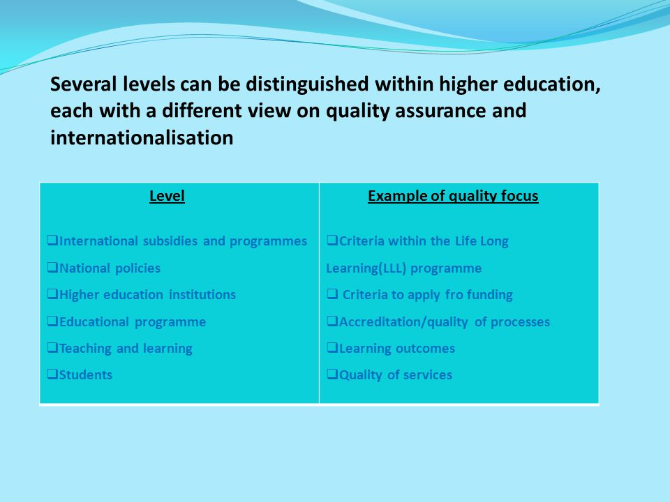 Several levels can be distinguished within higher education, each with a different view on quality assurance and internationalisation
