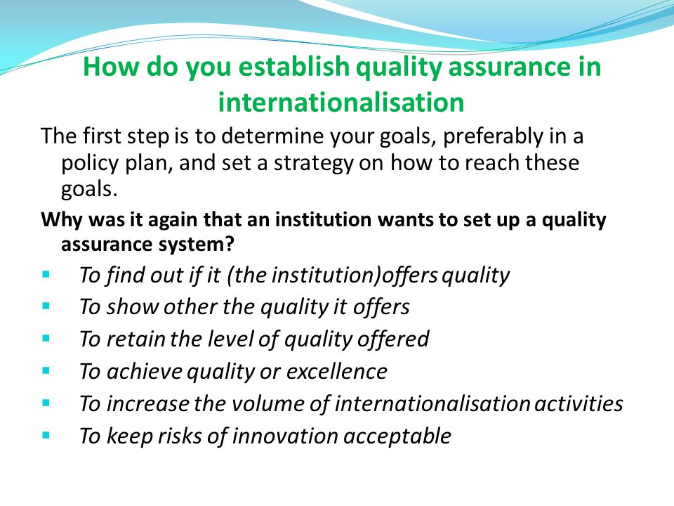 How do you establish quality assurance in internationalisation