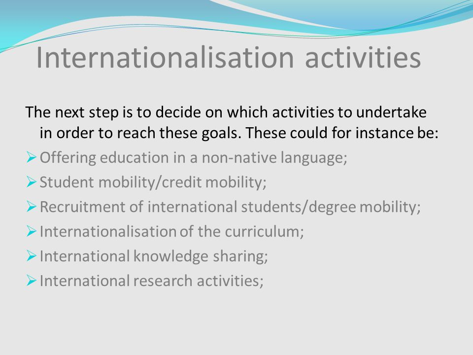 Internationalisation activities