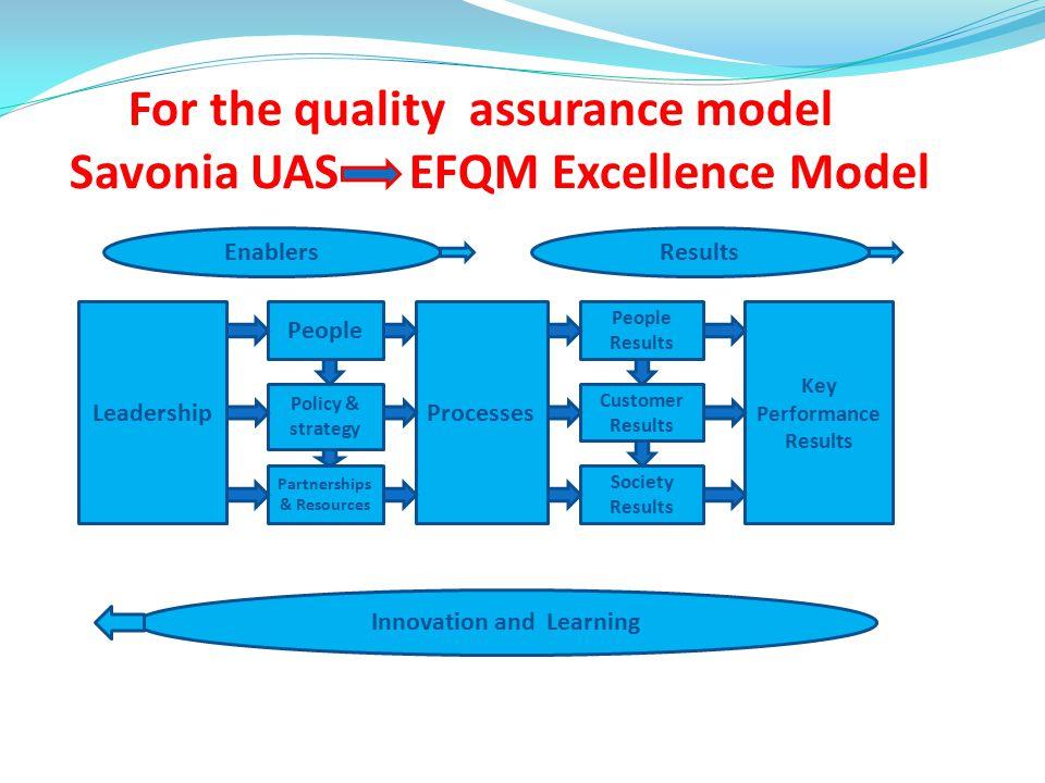 For the quality assurance model Savonia UAS EFQM Excellence Model