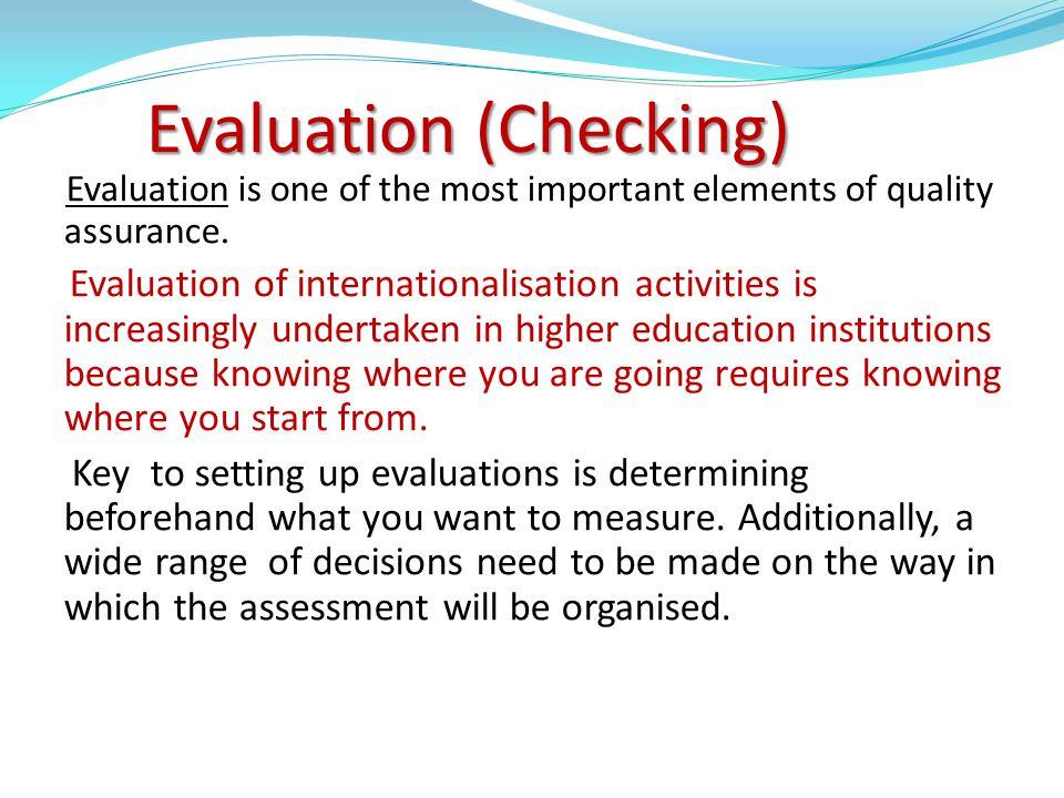 Evaluation (Checking)