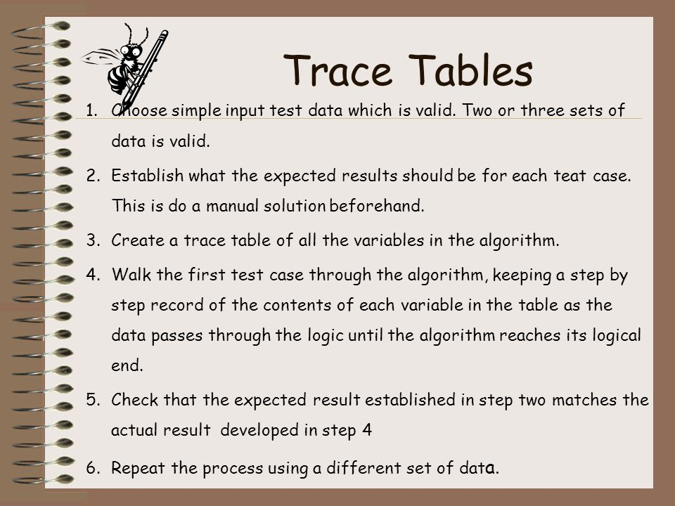 Trace Tables Choose simple input test data which is valid. Two or three sets of data is valid.