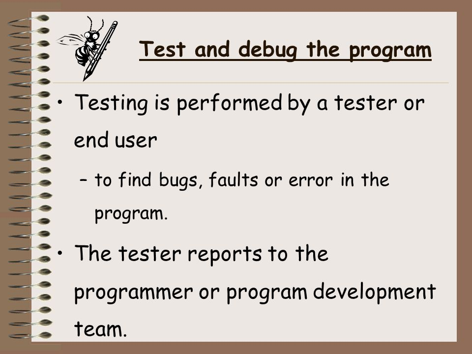 Test and debug the program