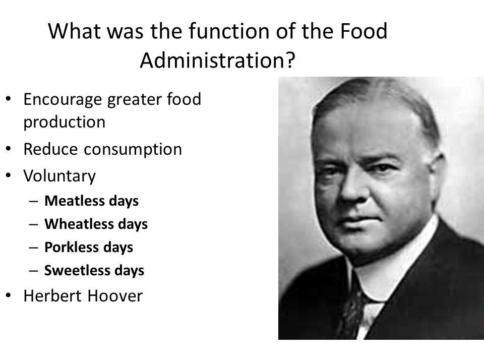 What was the function of the Food Administration