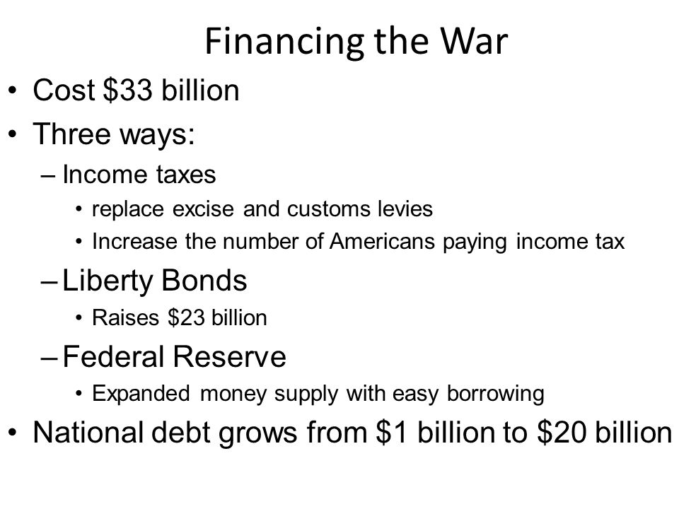 Financing the War Cost $33 billion Three ways: Liberty Bonds