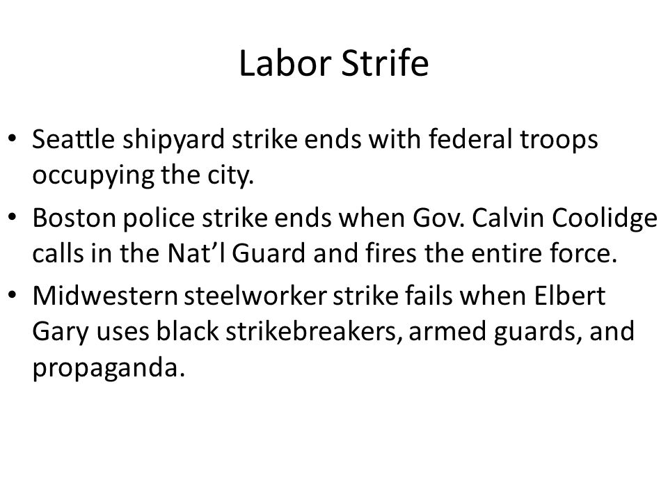 Labor Strife Seattle shipyard strike ends with federal troops occupying the city.