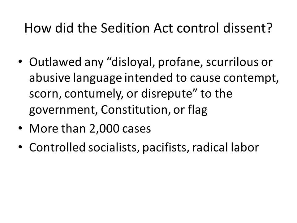 How did the Sedition Act control dissent