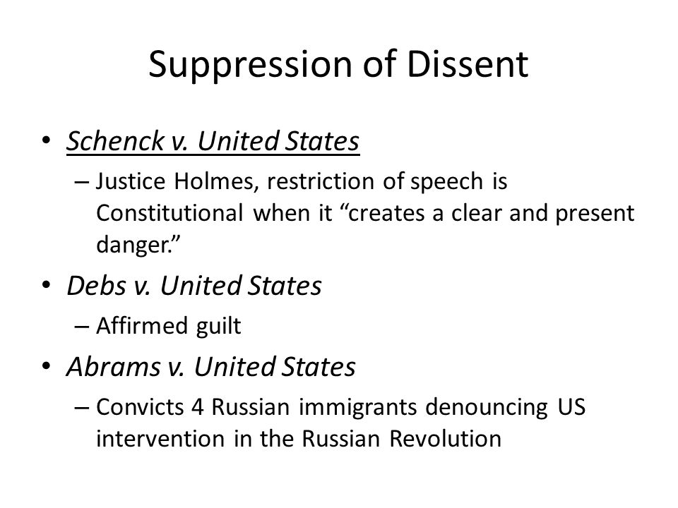 Suppression of Dissent