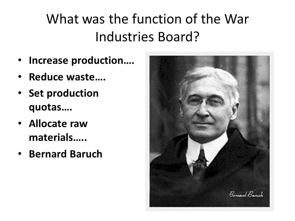 What was the function of the War Industries Board