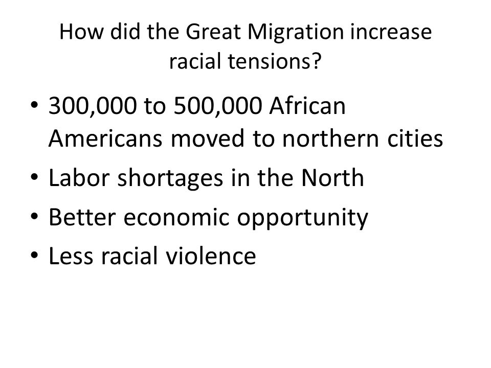 How did the Great Migration increase racial tensions