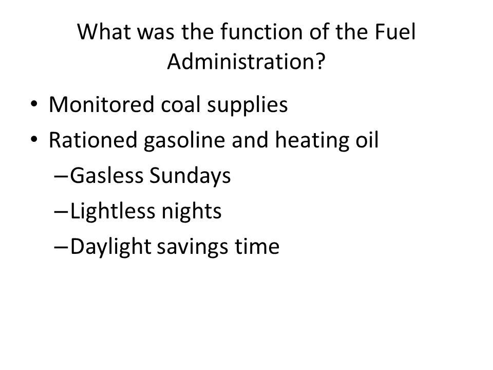 What was the function of the Fuel Administration
