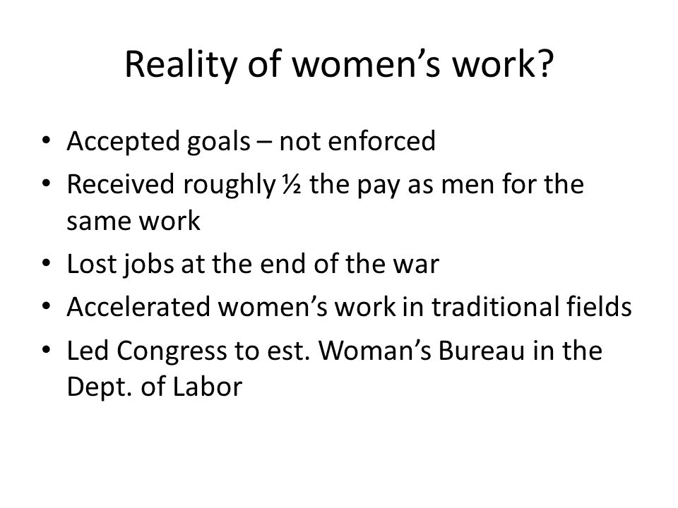 Reality of women's work