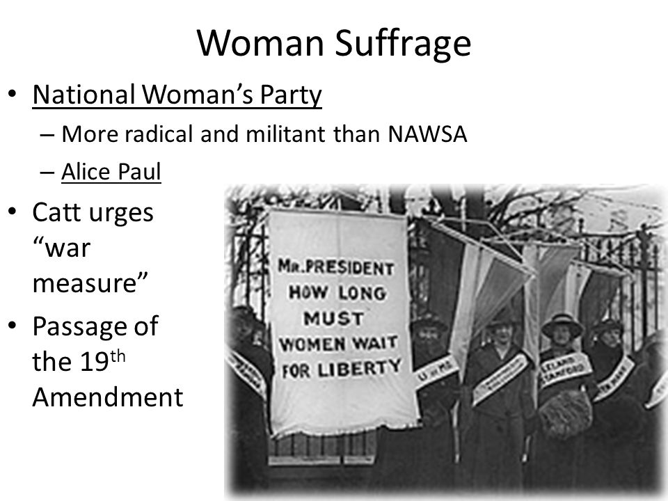 Woman Suffrage National Woman's Party Catt urges war measure