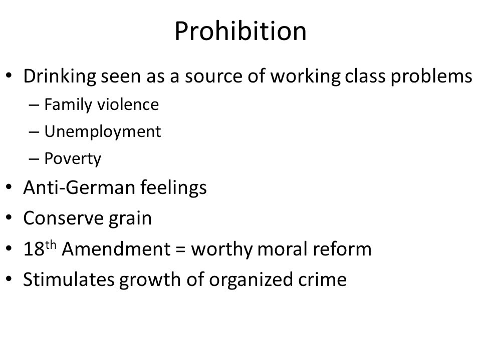 Prohibition Drinking seen as a source of working class problems