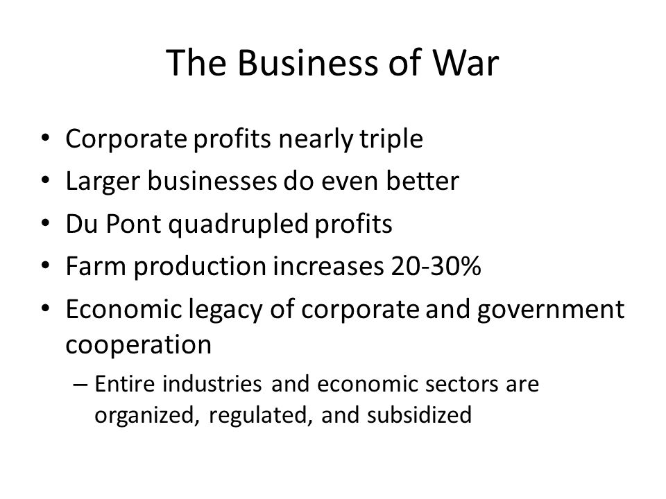 The Business of War Corporate profits nearly triple